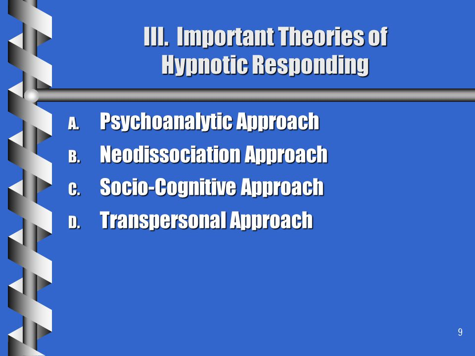 III. Important Theories of Hypnotic Responding