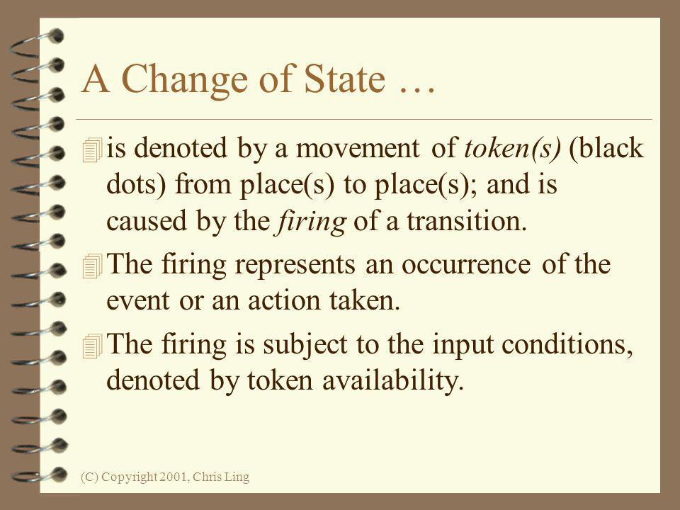 A Change of State … is denoted by a movement of token(s) (black dots) from place(s) to place(s); and is caused by the firing of a transition.