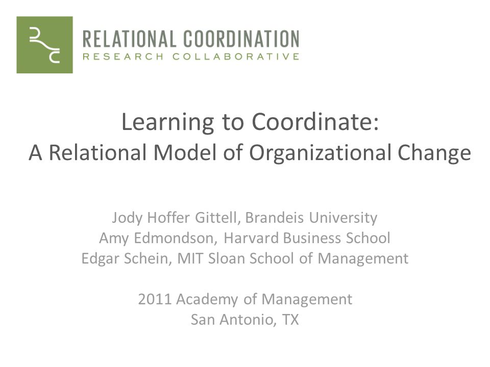 Learning to Coordinate: A Relational Model of Organizational Change