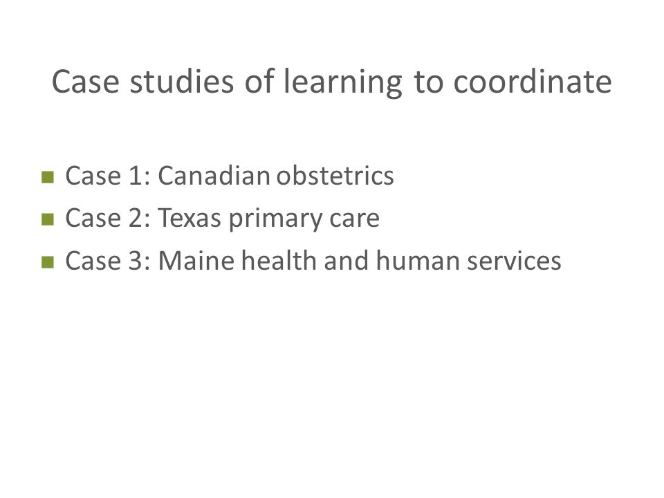 Case studies of learning to coordinate