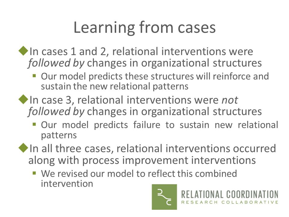 Learning from cases In cases 1 and 2, relational interventions were followed by changes in organizational structures.
