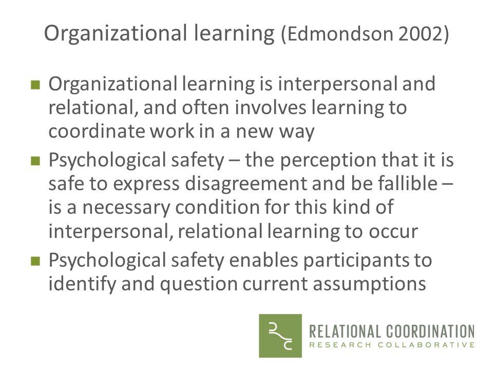 Organizational learning (Edmondson 2002)