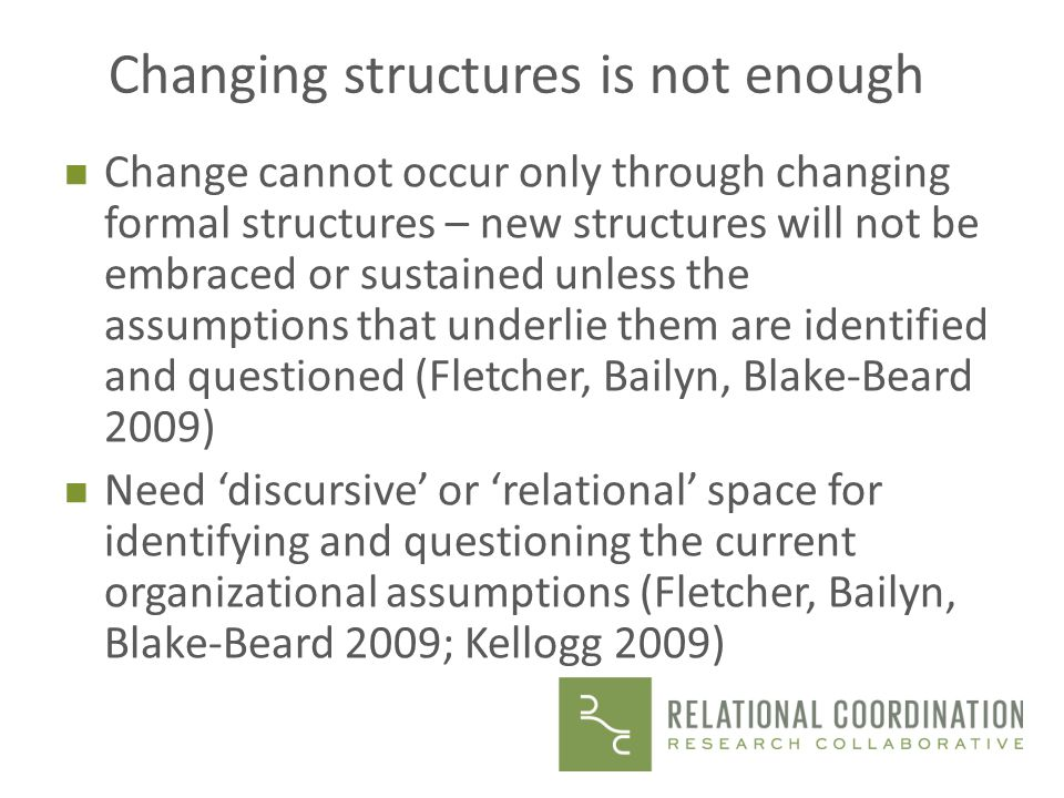 Changing structures is not enough