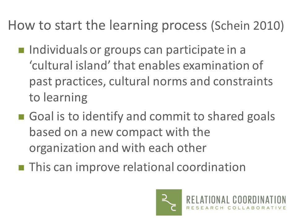 How to start the learning process (Schein 2010)