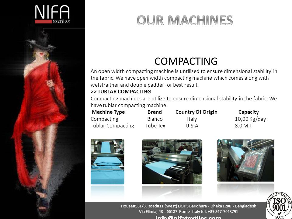 OUR MACHINES COMPACTING info@nifatextiles.com