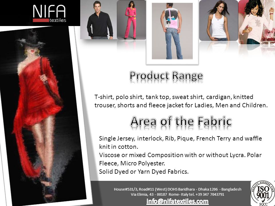 Area of the Fabric Product Range