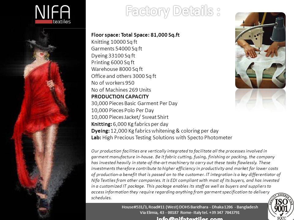 Factory Details : info@nifatextiles.com
