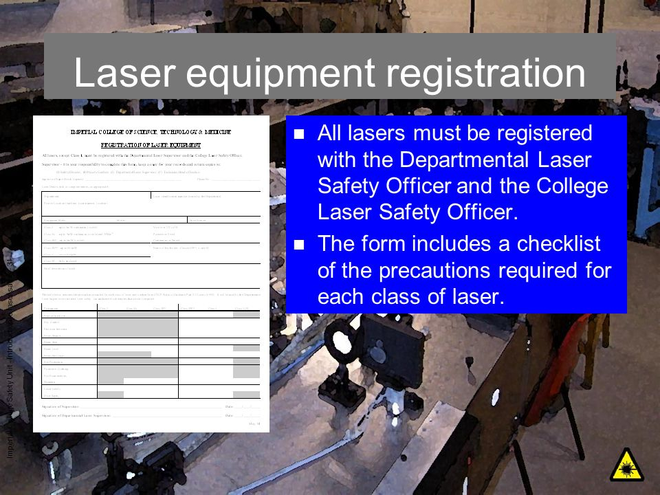 Laser equipment registration