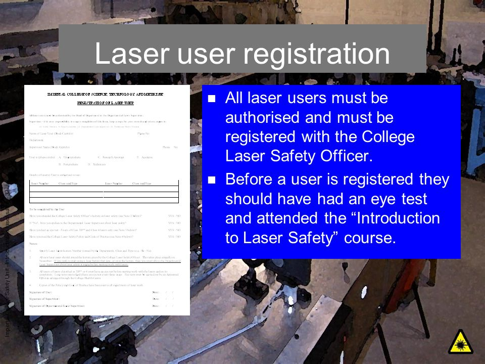 Laser user registration