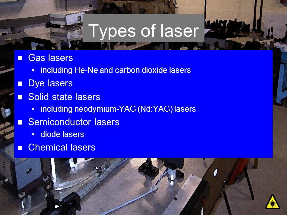 Types of laser Gas lasers Dye lasers Solid state lasers
