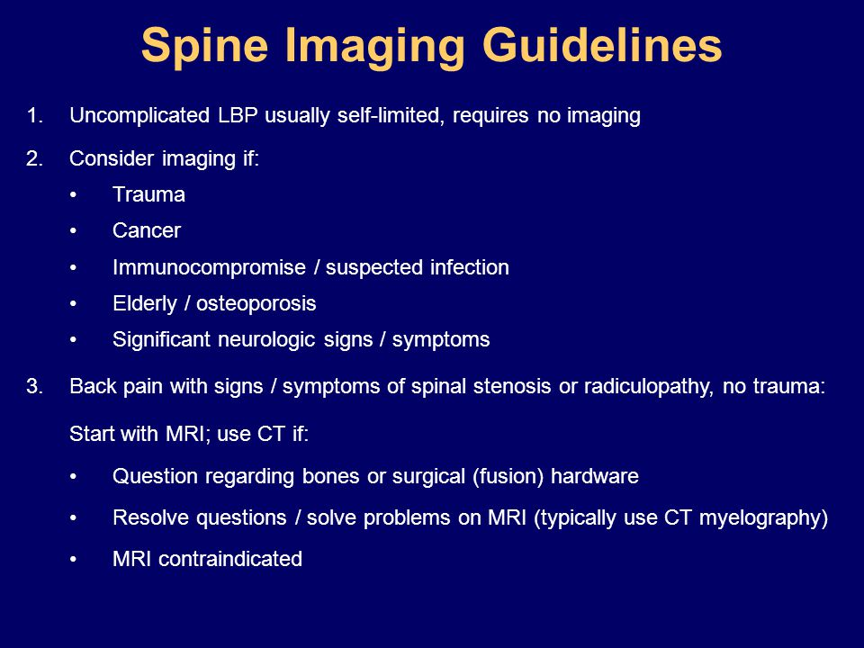 Spine Imaging Guidelines