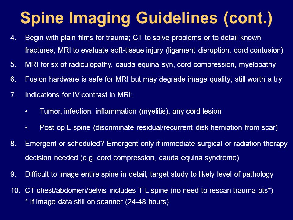 Spine Imaging Guidelines (cont.)