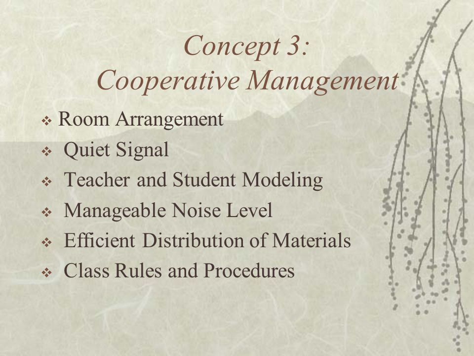 Concept 3: Cooperative Management