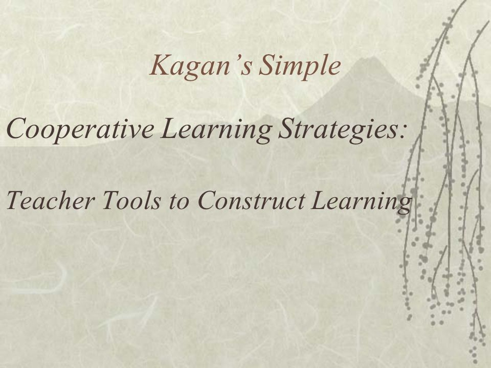 Cooperative Learning Strategies: