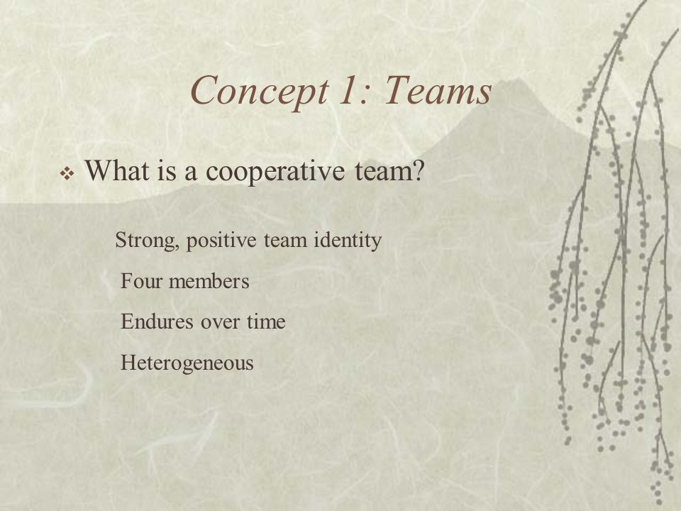 Concept 1: Teams What is a cooperative team