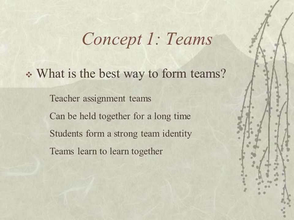 Concept 1: Teams What is the best way to form teams
