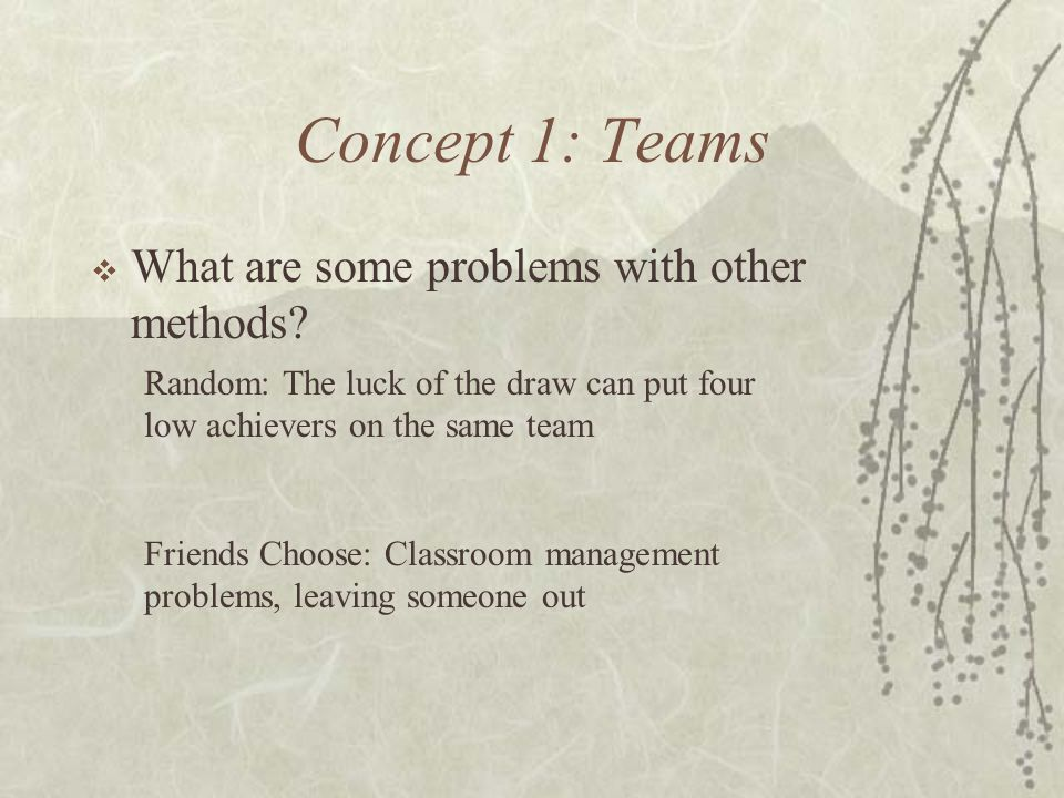 Concept 1: Teams What are some problems with other methods