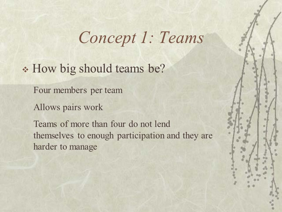 Concept 1: Teams How big should teams be Four members per team