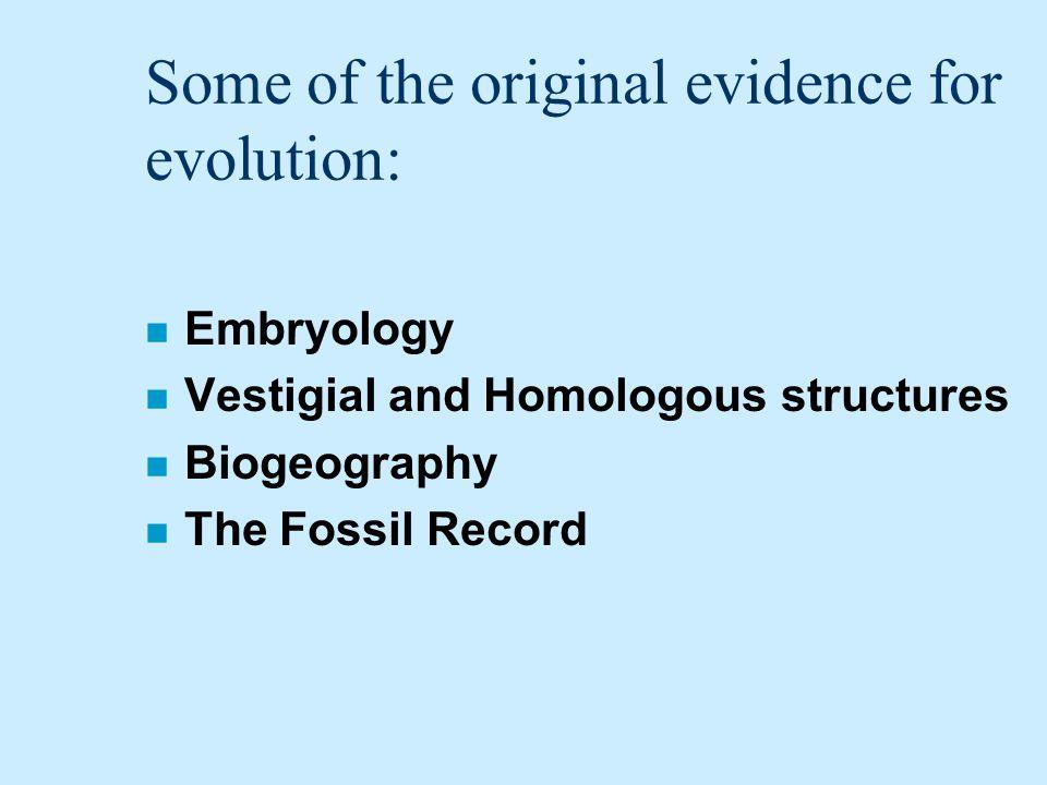 Some of the original evidence for evolution: