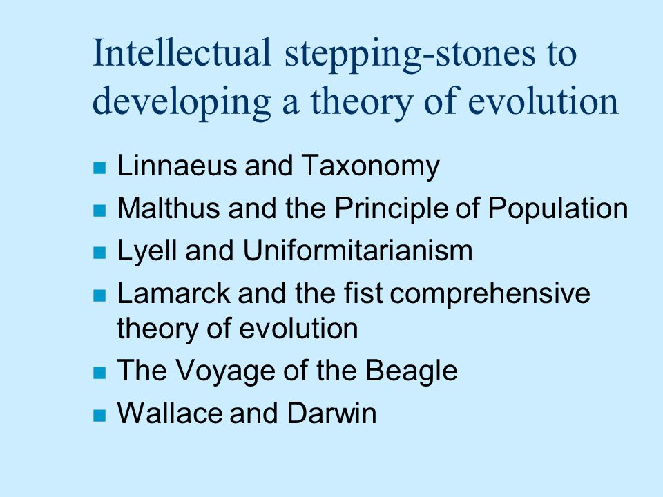 Intellectual stepping-stones to developing a theory of evolution