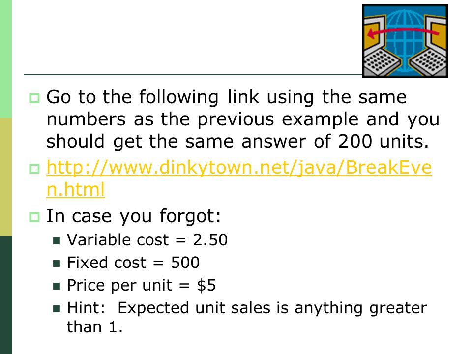Go to the following link using the same numbers as the previous example and you should get the same answer of 200 units.