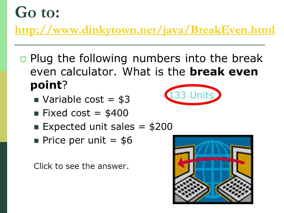Go to: http://www.dinkytown.net/java/BreakEven.html