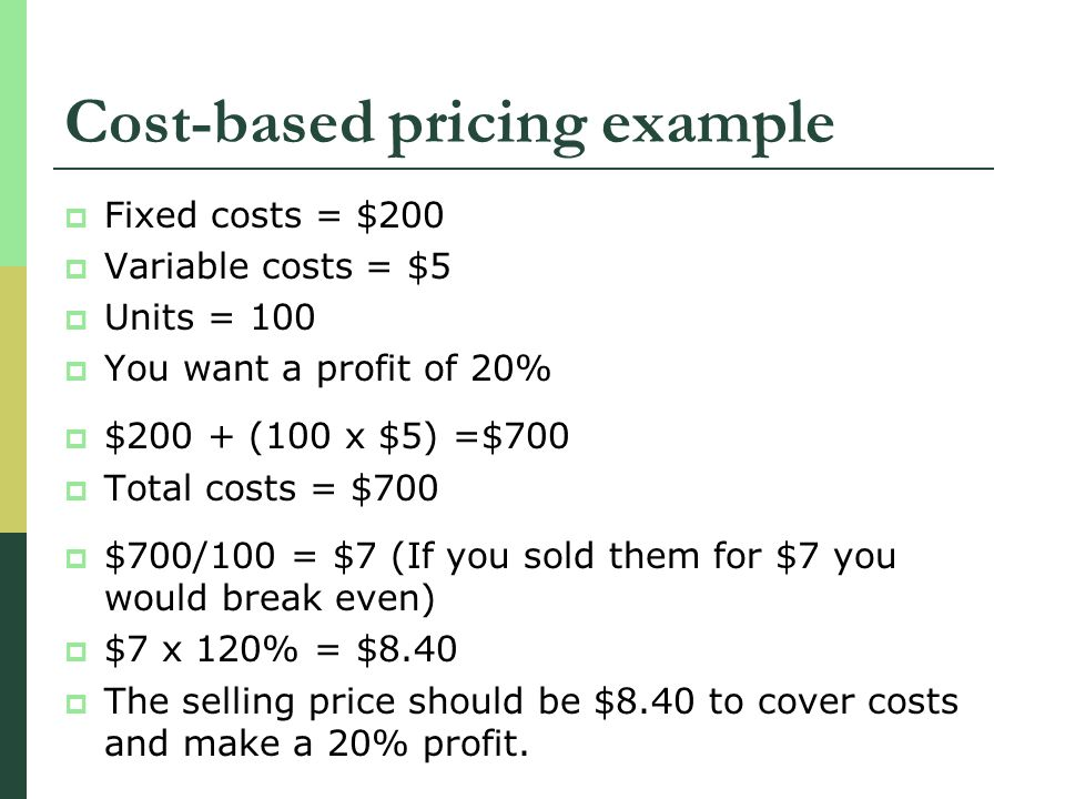 Cost-based pricing example