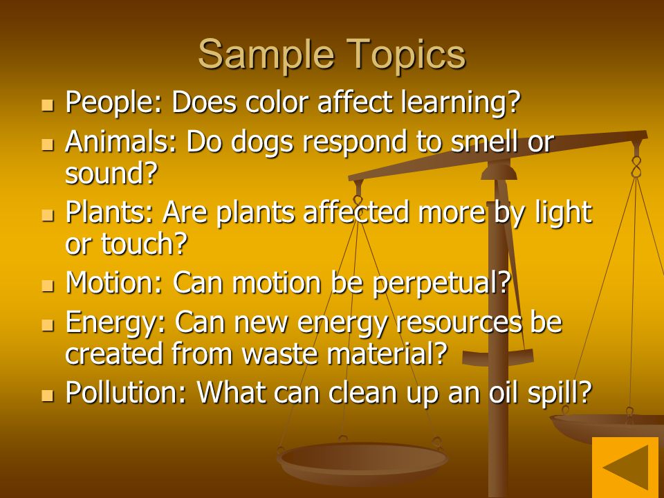 Sample Topics People: Does color affect learning