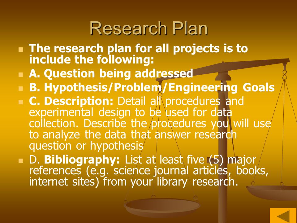 Research Plan The research plan for all projects is to include the following: A. Question being addressed.