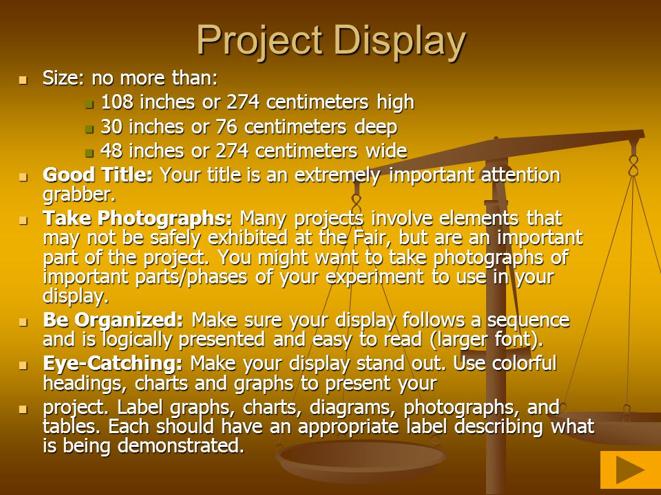 Project Display Size: no more than: 108 inches or 274 centimeters high