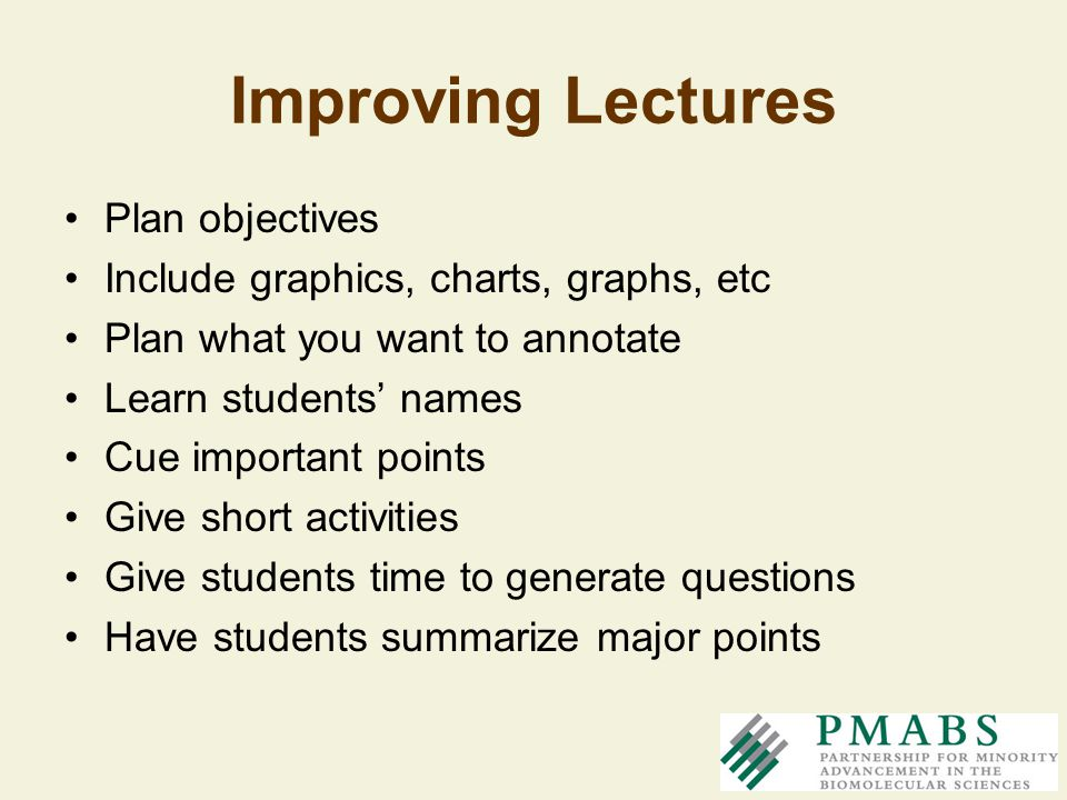 Improving Lectures Plan objectives