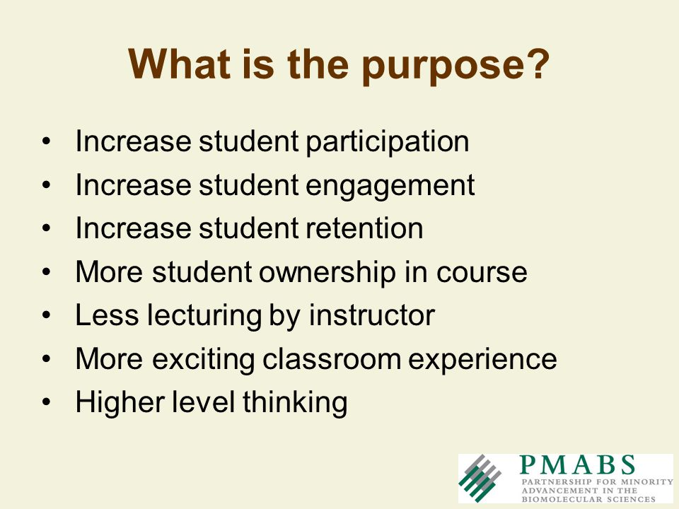 What is the purpose Increase student participation