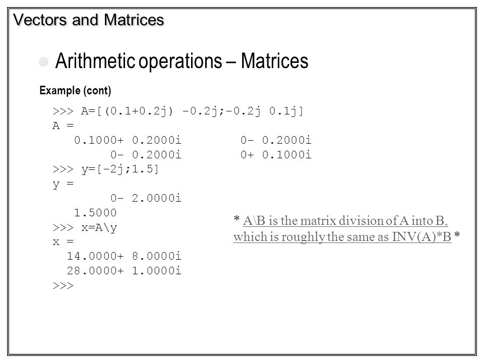 Arithmetic operations – Matrices