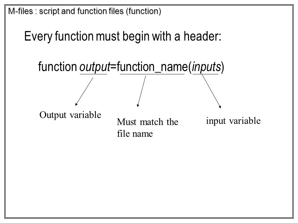 M-files : script and function files (function)