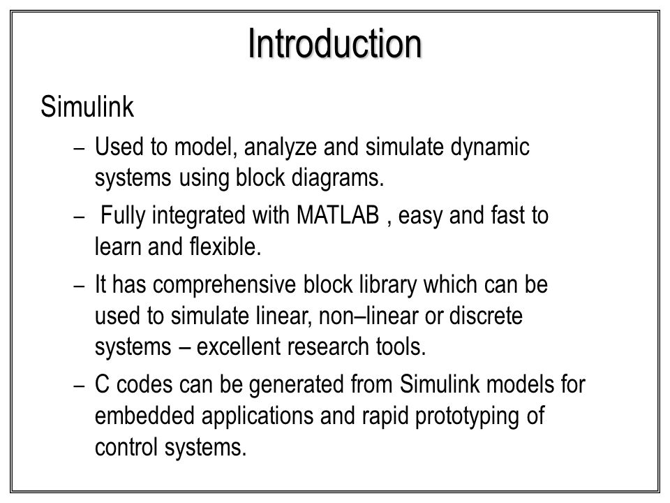 Introduction Simulink