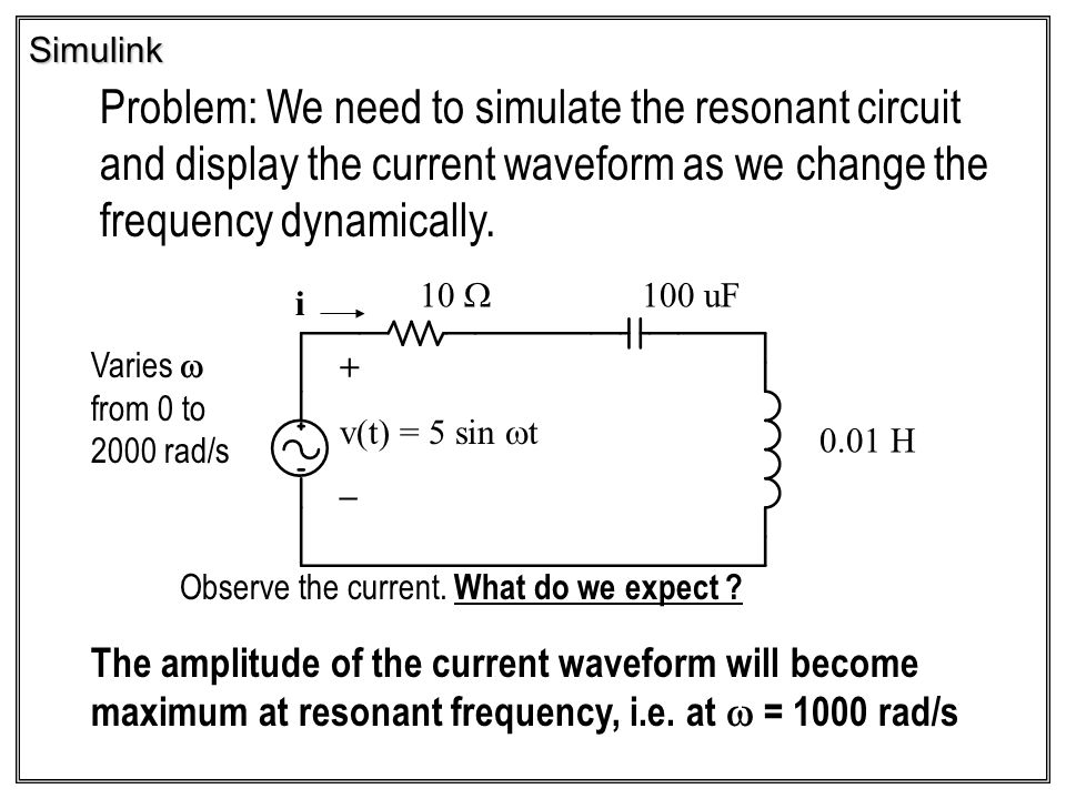 Simulink Problem: We need to simulate the resonant circuit and display the current waveform as we change the frequency dynamically.