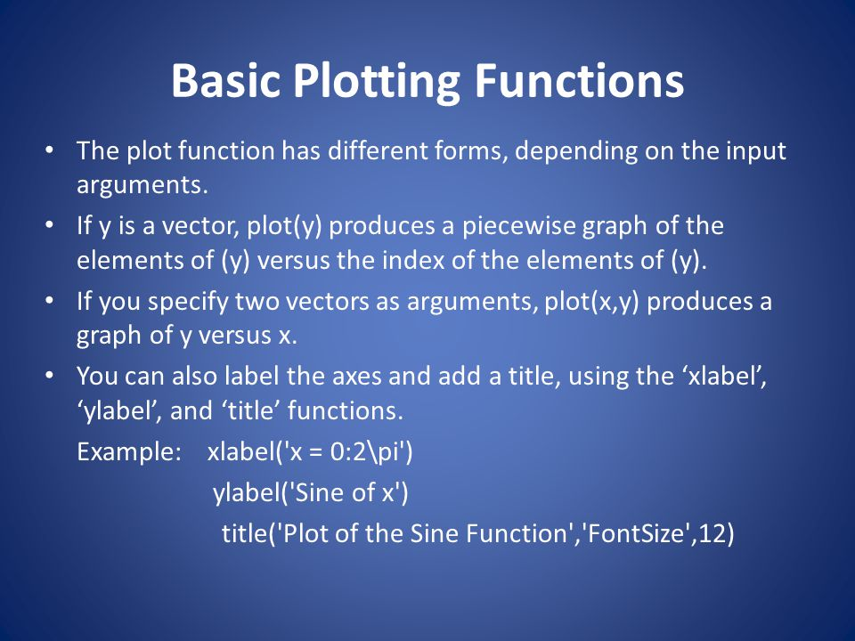 Basic Plotting Functions