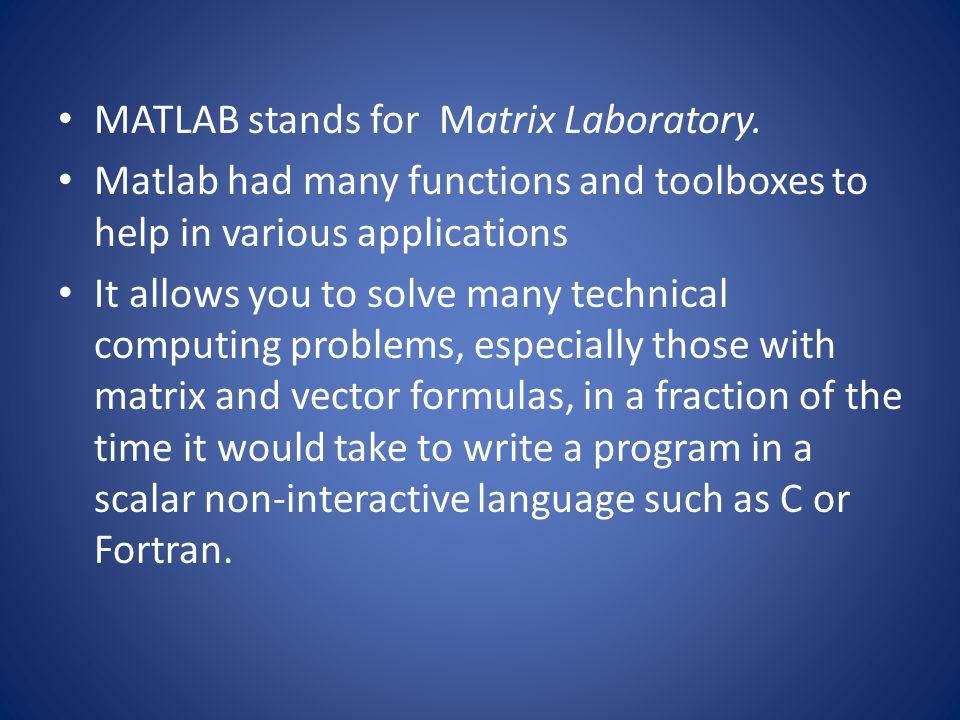MATLAB stands for Matrix Laboratory.