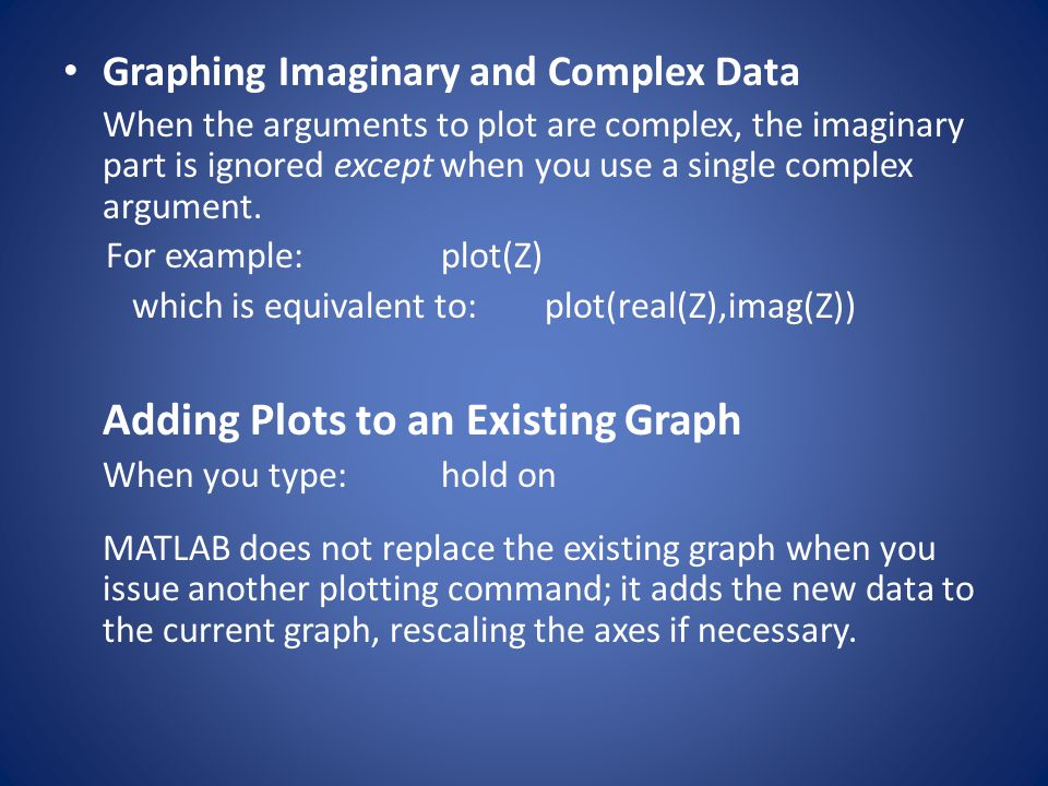 Graphing Imaginary and Complex Data