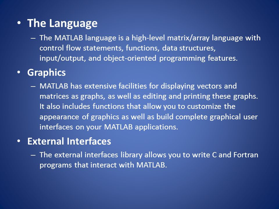 The Language Graphics External Interfaces