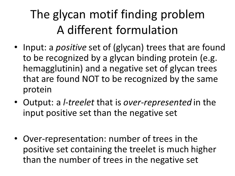 The glycan motif finding problem A different formulation