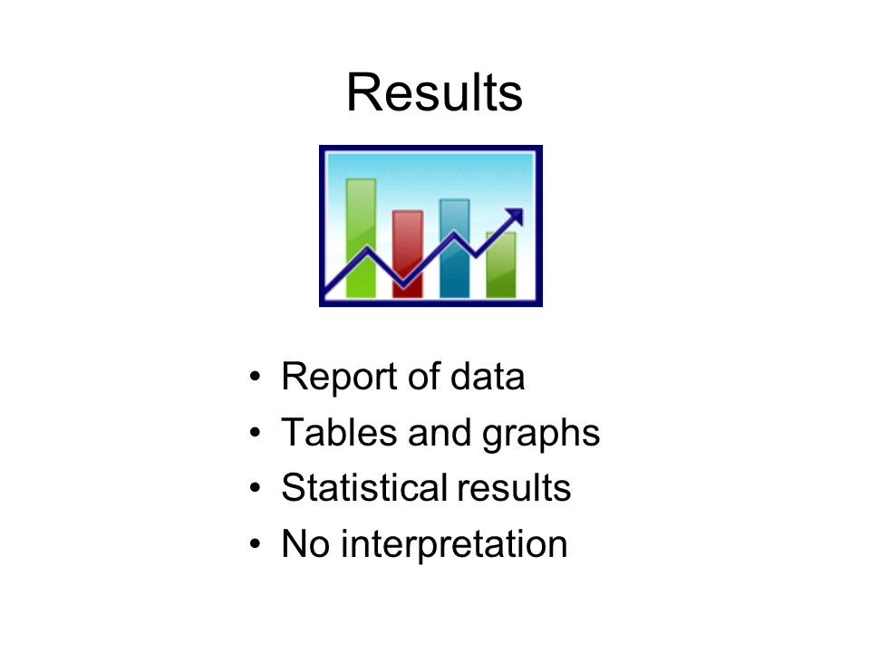 Results Report of data Tables and graphs Statistical results