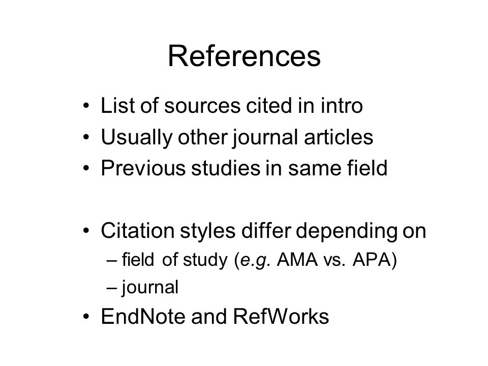 References List of sources cited in intro