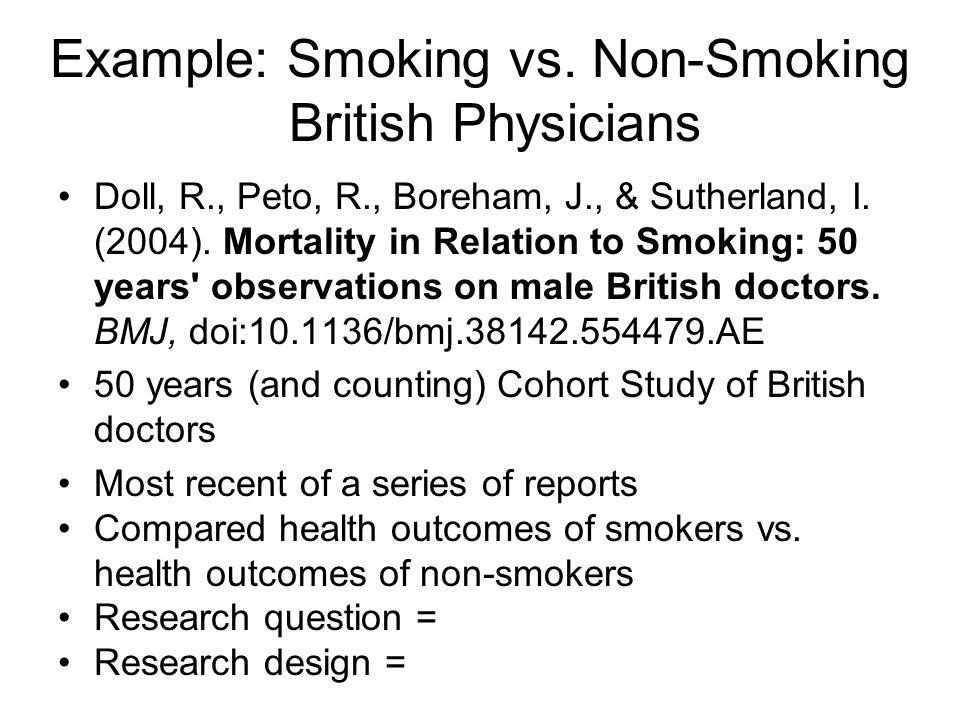 Example: Smoking vs. Non-Smoking British Physicians