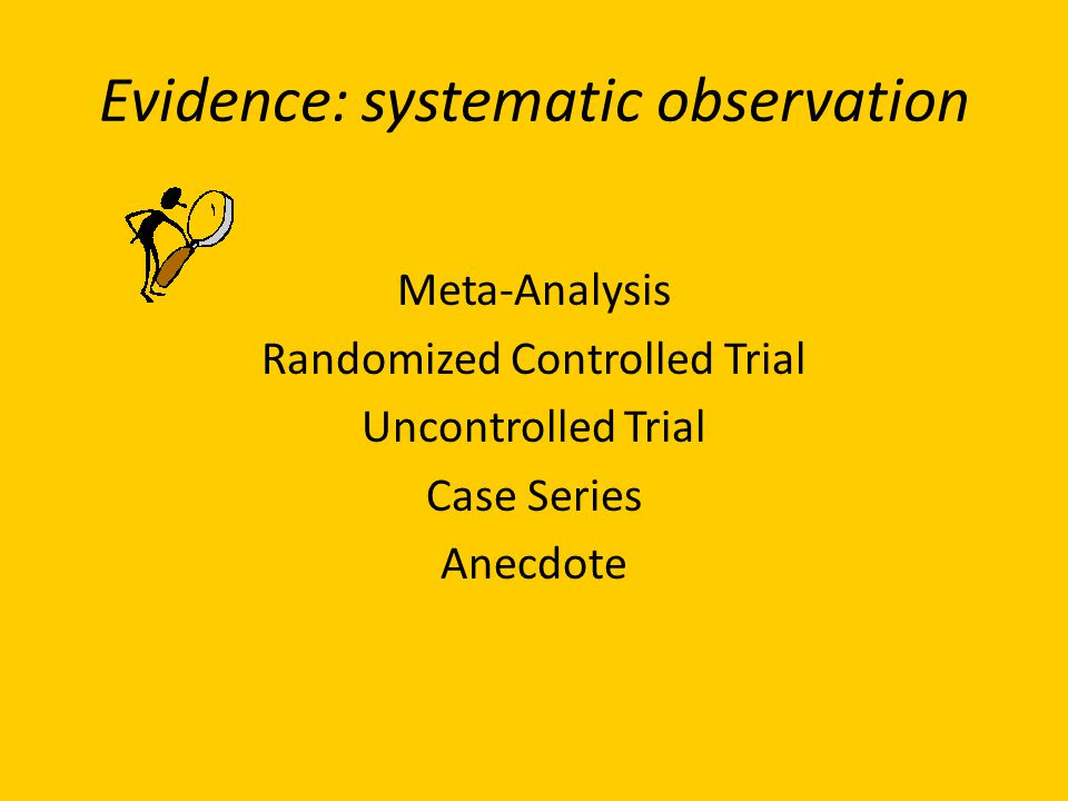 Evidence: systematic observation