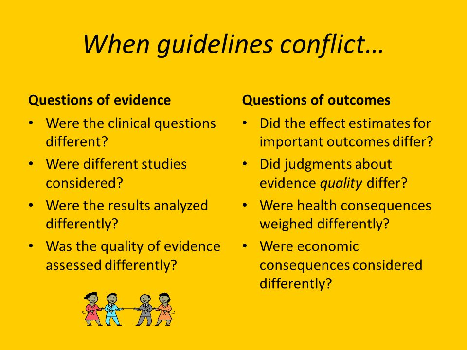 When guidelines conflict…