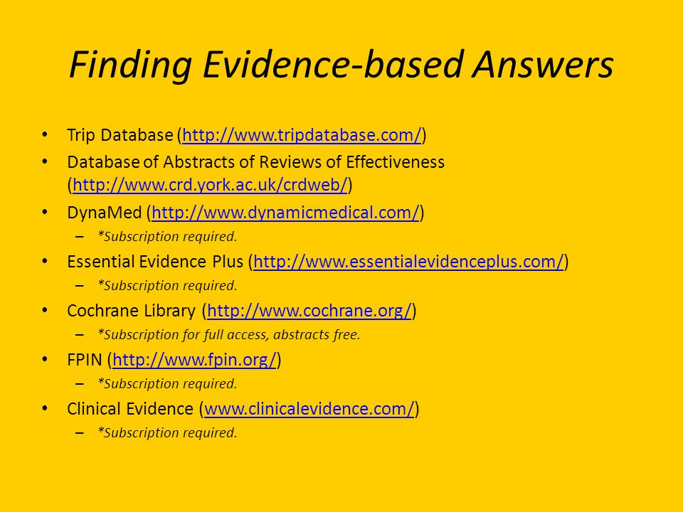 Finding Evidence-based Answers