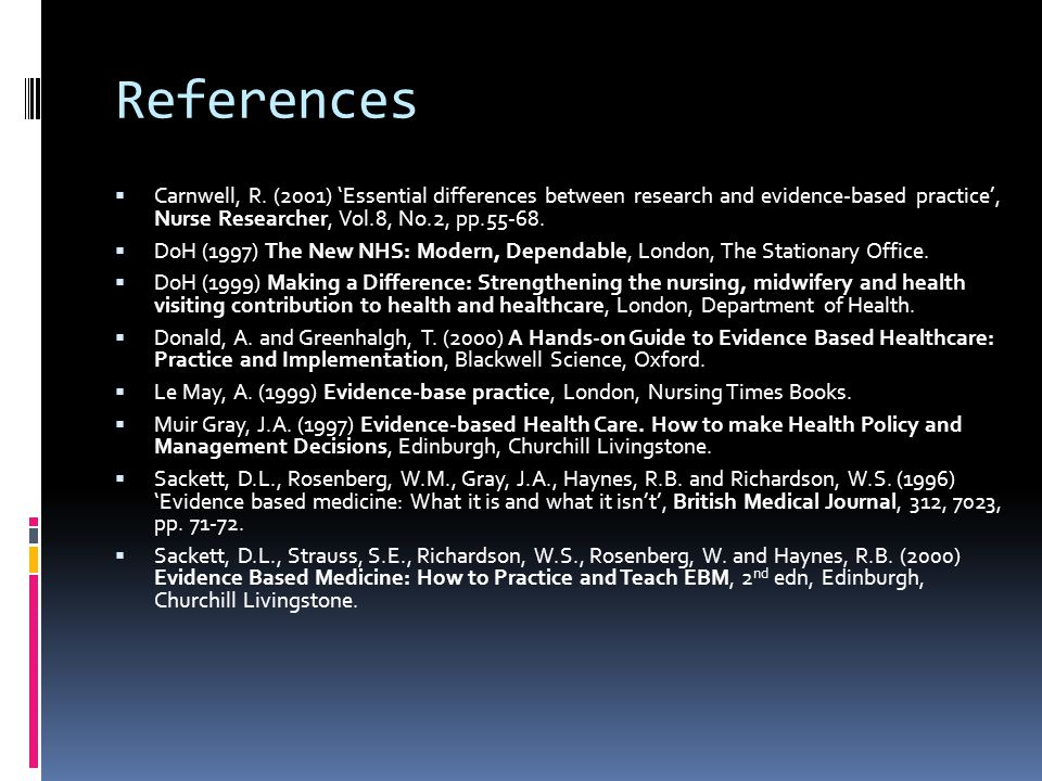 References Carnwell, R. (2001) 'Essential differences between research and evidence-based practice', Nurse Researcher, Vol.8, No.2, pp.55-68.