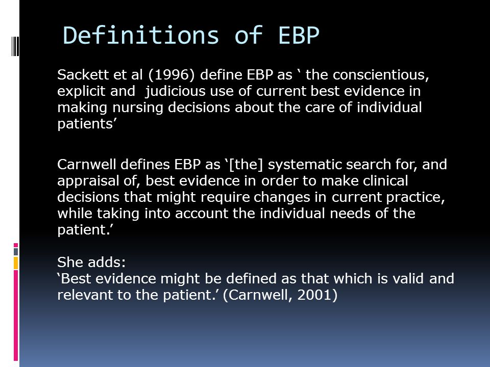 Definitions of EBP