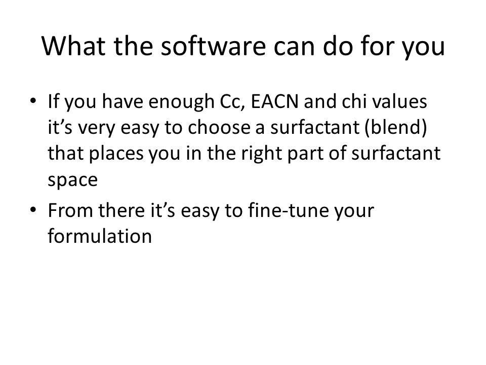 What the software can do for you